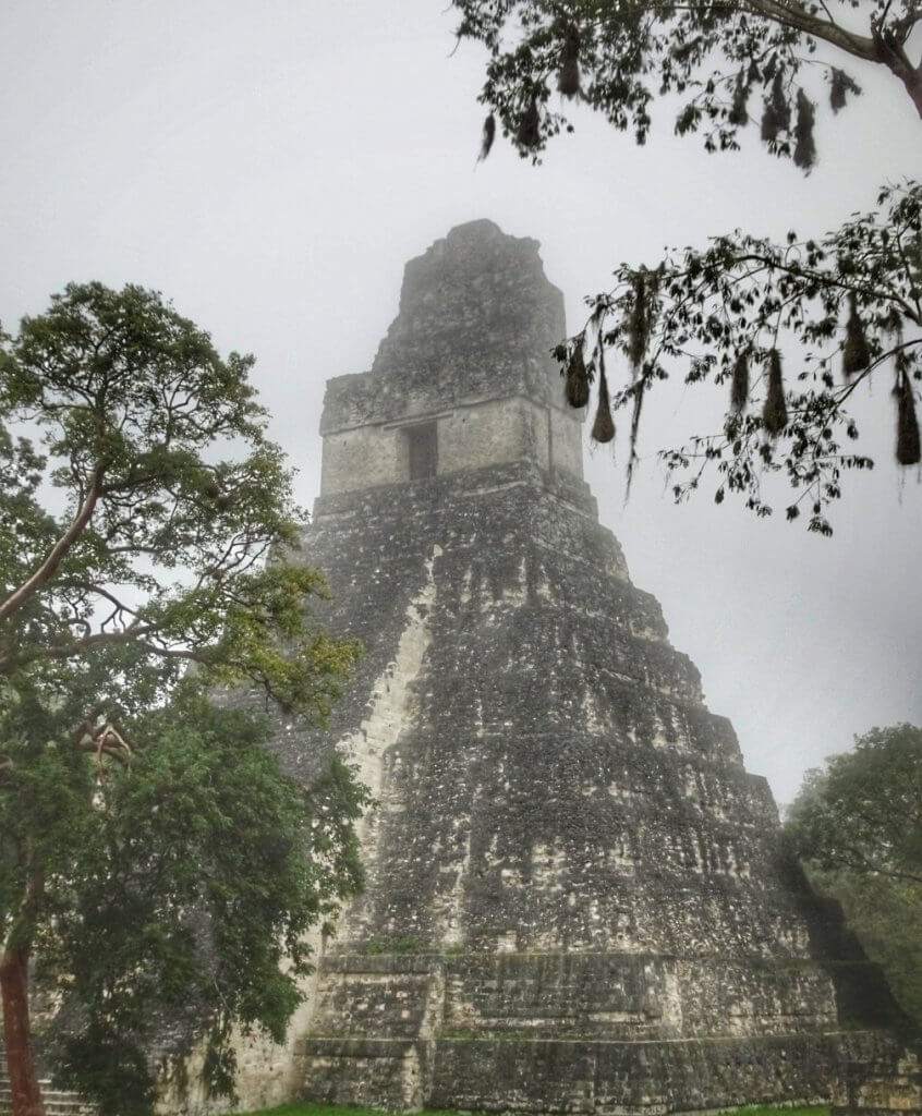 Tikal early morning in the mist